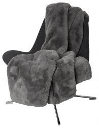 Fluffy Pläd fuskpäls grå 120x180cm Skinnwille