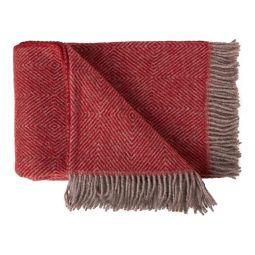 Toarp ullpläd Gåsöga röd/grå 130x200cm