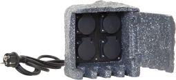 Förgreningsbox Plugge 4 uttag med lock IP44 grå