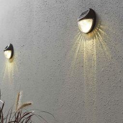 Fency vägglampa solcell ljusbrun 3st
