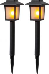 Solcells-pollare Flame Mini 2-p svart 23cm