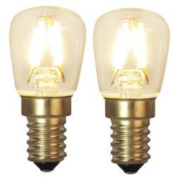 LED filament päronlampa E14 Klar 1,3W (10W) 2-pack