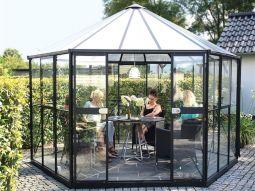Växthus Vitavia Hera svart glas diameter 3,8m / 9m²