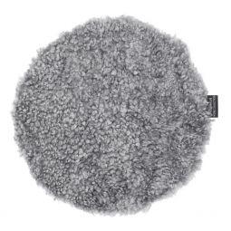Skinnwille fårskinnssits rund Curly charcoal/grå 34cm 1-p