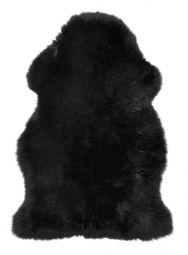 Gently långhårigt Fårskinn svart 100cm Skinnwille