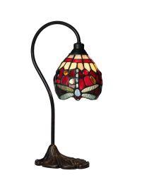 Trollslända Tiffany bordslampa röd 39cm