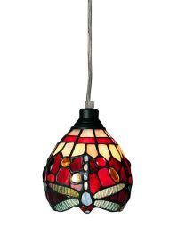 Nostalgia Design Trollslända Tiffany fönsterlampa röd 13cm