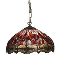 Nostalgia Design Trollslända Tiffany taklampa röd 40cm
