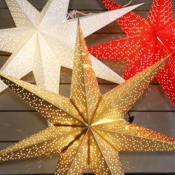 Adventsstjärna Dot i papper i guld, röd och vit miljöbild