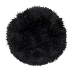 Skinnwille fårskinnssits rund Gently 34cm svart 4-pack
