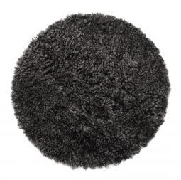 Skinnwille fårskinnssits rund Curly dark/grå 34cm 4-p
