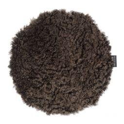 Skinnwille fårskinnssits rund Curly brun 34cm 4-p
