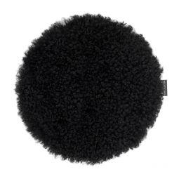 Skinnwille fårskinnssits rund Curly svart 34cm 4-p