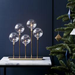 Mäster elljusstake i metall guld med fem glasbollar