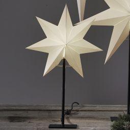 Frozen adventsstjärna vit på svart metallfot 55cm liten