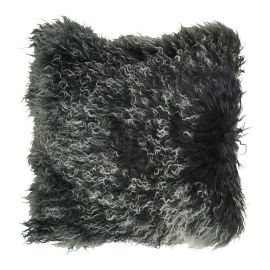 Mogihome Kuddfodral Tibet fårskinn 45x45cm svart/vit melerad