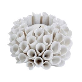 Ljuslykta Shelly keramik creme Mogihome