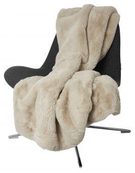 Fluffy Pläd fuskpäls beige 120x180cm Skinnwille