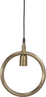 Circle fönsterlampa i rå mässing metall för industrikänsla i hemmet.