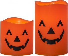 Halloween Blockljus 2-p orange 11,5cm
