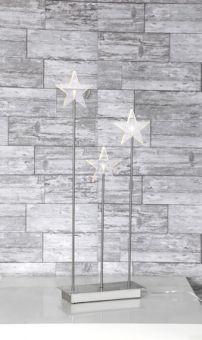 Elljusstake golv Karla silver 3 stjärnor 59cm