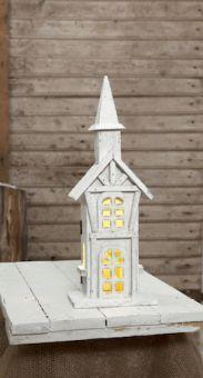 Bordsdekoration Woodland kyrka natur 38cm
