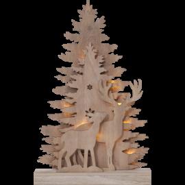 Star Trading Bordsdekoration Lazercut Fauna i trä natur LED 44cm