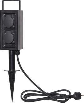 Förgreningsbox Plugge 4 uttag markspett IP44 svart