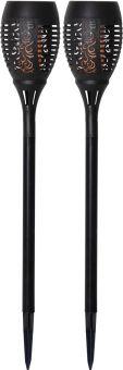 Solcellsfackla Flame svart 50cm 2-p