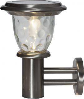 Solcells-vägglykta Pireus rostfri stål 27cm