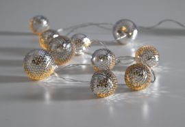 Ljusslinga Flake bollar silver 1,35m