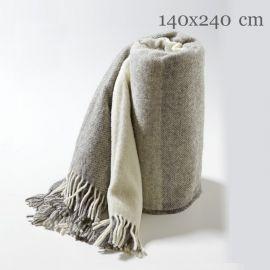 Toarp Ullpläd storrutig grå/natur 140x240cm