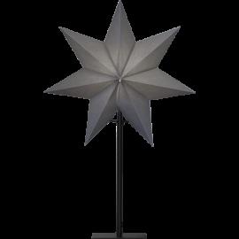 Ozen adventsstjärna grå på svart metallfot 55cm