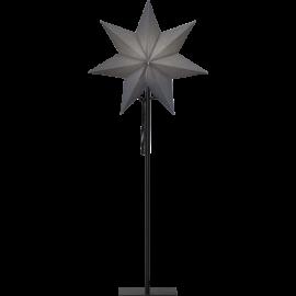Ozen adventsstjärna grå på svart metallfot 85cm