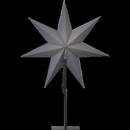 Ozen adventsstjärna grå på svart metallfot 75cm