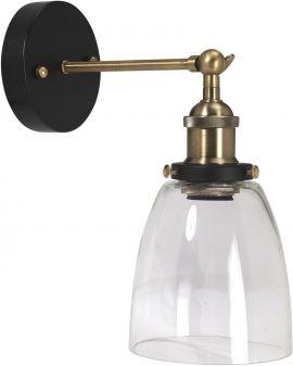 PR Home Kappa Vägglampa badrum svart/mässing klar 14cm