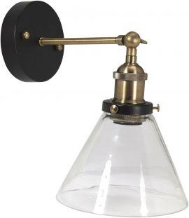 Lambda Vägglampa badrum svart/mässing klar 18cm