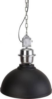 PR Home Manchester taklampa i antiksilver med svart skärm, kedja och lätting.