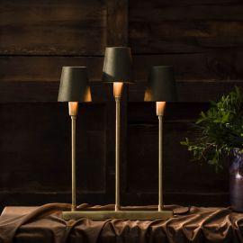 Soft Christmas Metalljusstake 3 lampor guld/grön 40cm