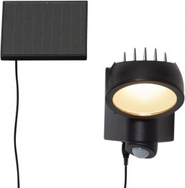 Väggspotlight Solcell Powerspot svart 19cm Star Trading