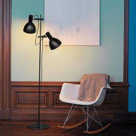 Baltimore golvlampa 2 lampor svart 150cm
