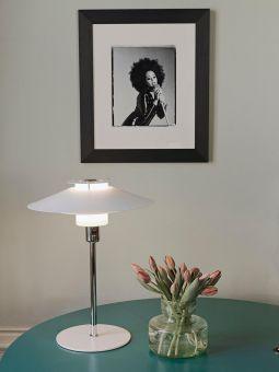 Rivoli bordslampa vit/krom 30cm Halo Design
