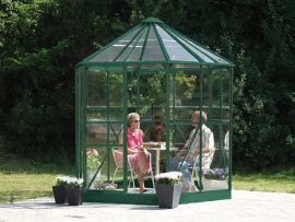 Växthus Vitavia Hera grön glas diameter 2,6m / 4,5m²