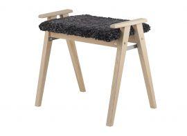 Oscarssons Möbel Alme Hallpall vitpigmenterad ek fårskinn mörkgrå