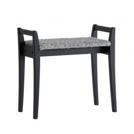Oscarssons Möbel Meja Hallpall svartbetsad ek fårskinnslook ljusgrå