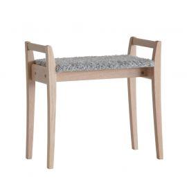Oscarssons Möbel Meja Hallpall vitpigmenterad ek fårskinnslook ljusgrå
