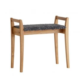 Oscarssons Möbel Meja Hallpall oljad ek fårskinnslook mörkgrå