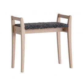 Oscarssons Möbel Meja Hallpall vitpigmenterad ek fårskinnslook mörkgrå