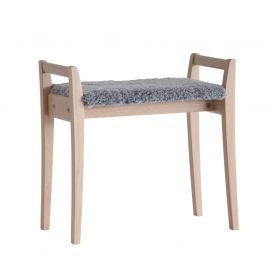 Oscarssons Möbel Meja Hallpall vitpigmenterad ek fårskinn ljusgrå