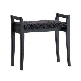Oscarssons Möbel Meja Hallpall svartbetsad ek fårskinn mörkgrå